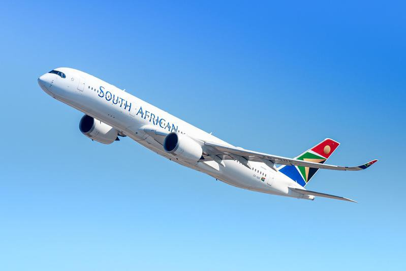 South African Airways plane in the air