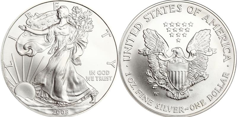 2008-W U.S. Reverse of 2007 Silver Eagle Dollar