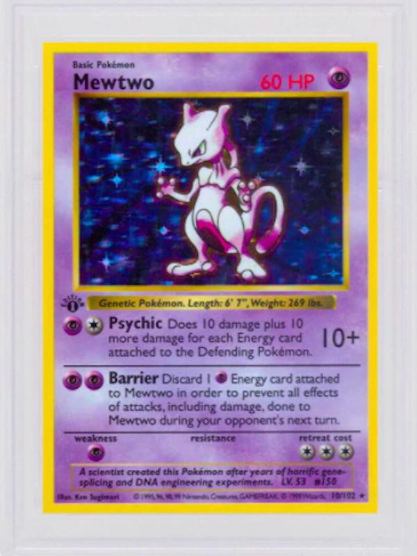 1999 First Edition Shadowless Holo Mewtwo No. 10