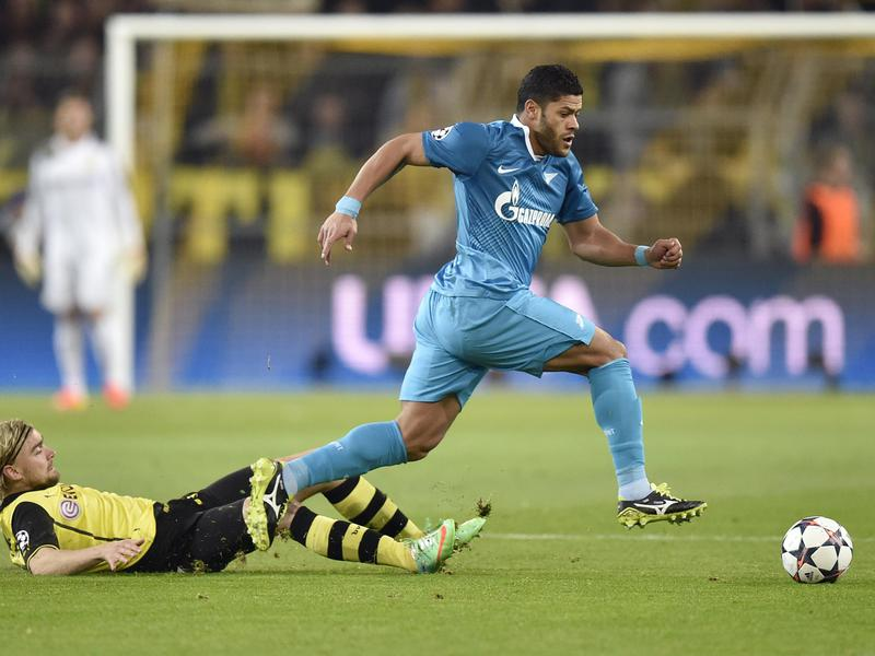 Hulk, right, wins the ball during a Champions League match in 2014 when he played for FC Zenit.