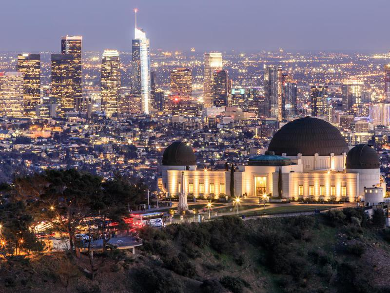 Griffith Observatory Park with Los Angeles Skyline at Dusk