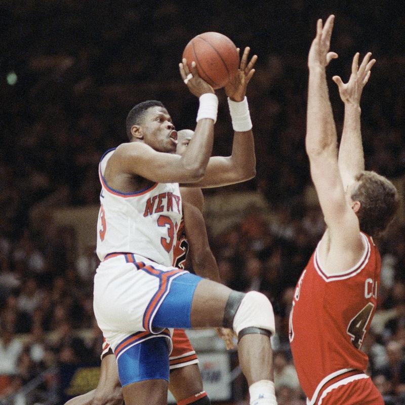 Patrick Ewing scores basket