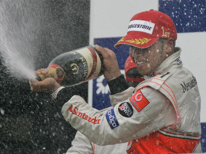 Lewis Hamilton celebrates after winning United States Grand Prix