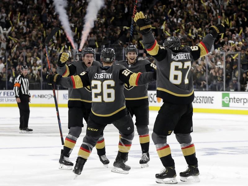 Vegas Golden Knights center Paul Stastny celebrates goal