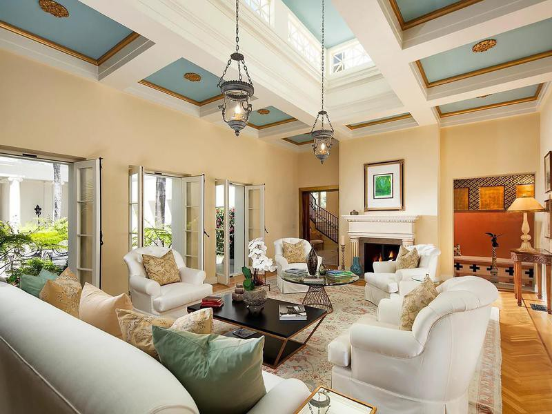 Living room with blue ceilings