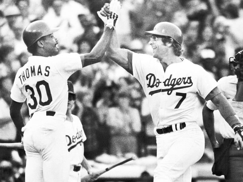 Steve Yeager and Derrel Thomas