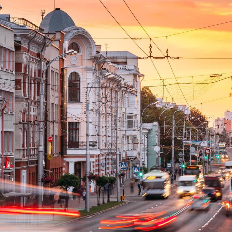 Evening traffic on Sovetskaya Street