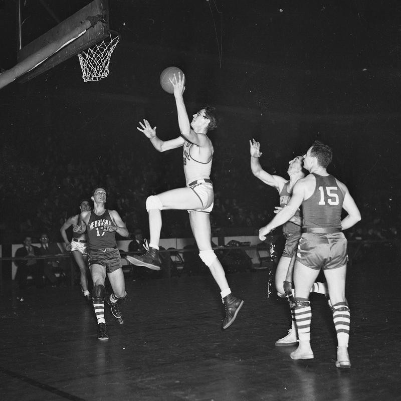George Mikan goes for a basket