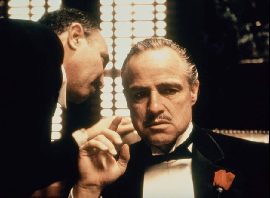 Marlon Brando and Salvatore Corsitto in The Godfather