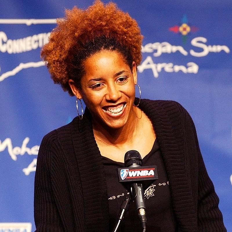 Nykesha Sales speaks at news conference at Mohegan Sun