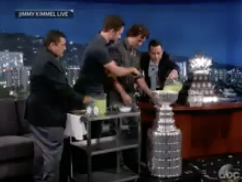 Alec Martinez, Justin Williams and Jimmy Kimmel