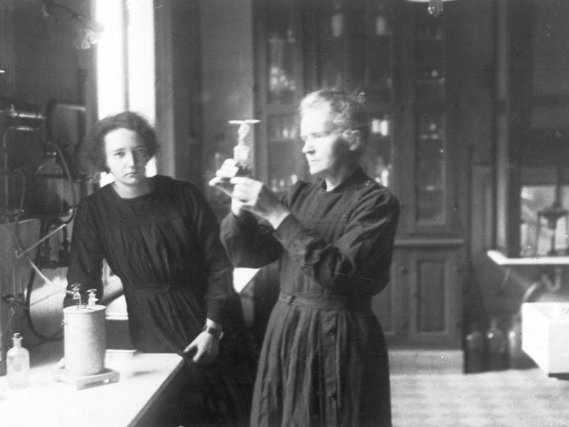 Marie Curie, right, with her daughter, Irene