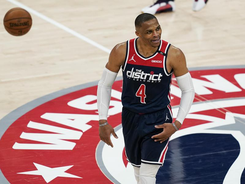 Russell Washington Wizards guard Russell Westbrook reacts
