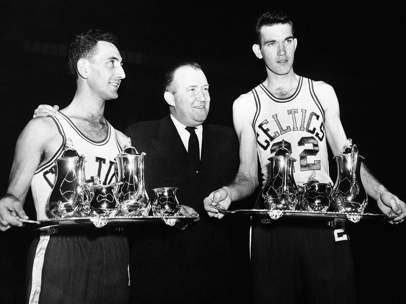 Celtics' Bob Cousy presented with sterling silver tea service