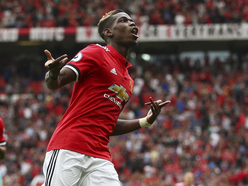 Manchester United's Paul Pogba celebrates a goal during an English Premier League match against West Ham United.