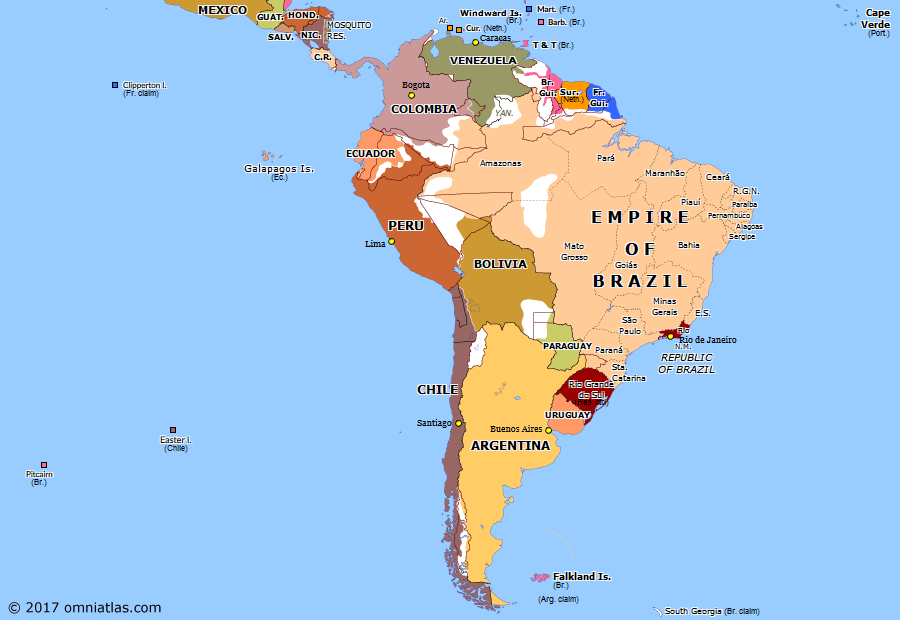 Map of Empire of Brazil during its height