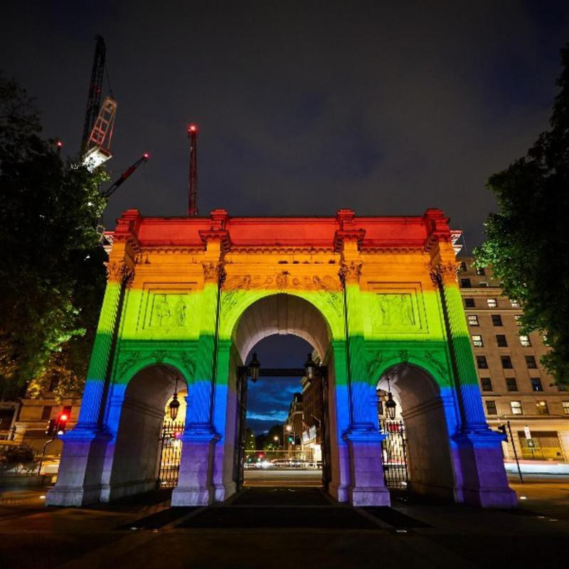 The Marble Arch in London in gay pride colors