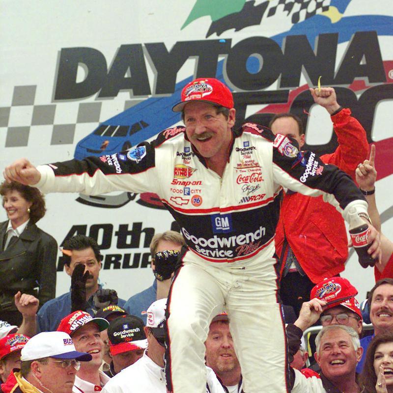 Dale Earnhardt celebrates winning Daytona 500