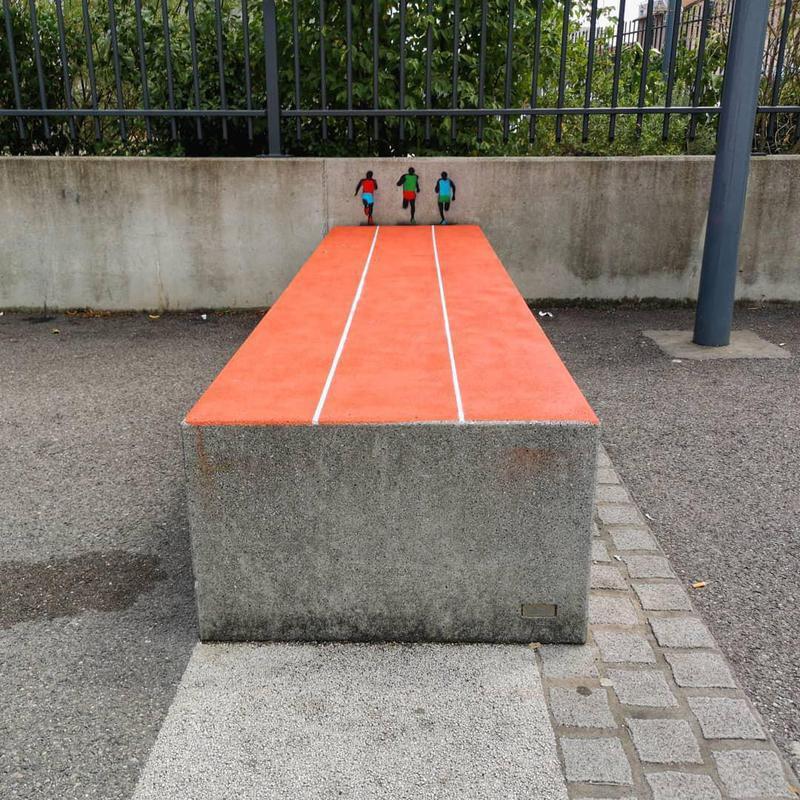 Race street art intervention in France