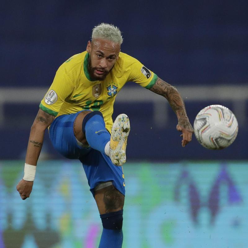 Brazil's Neymar takes a shot