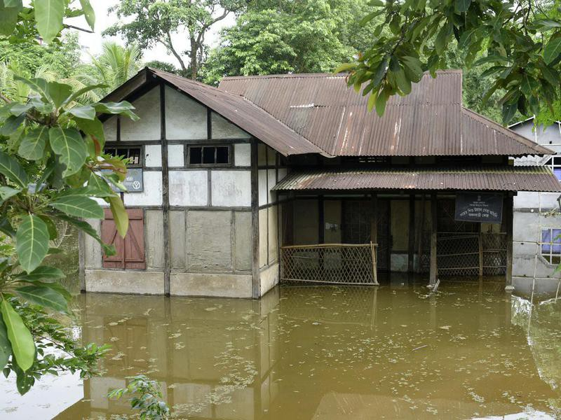 Indian village flooded by the Brahmaputra River