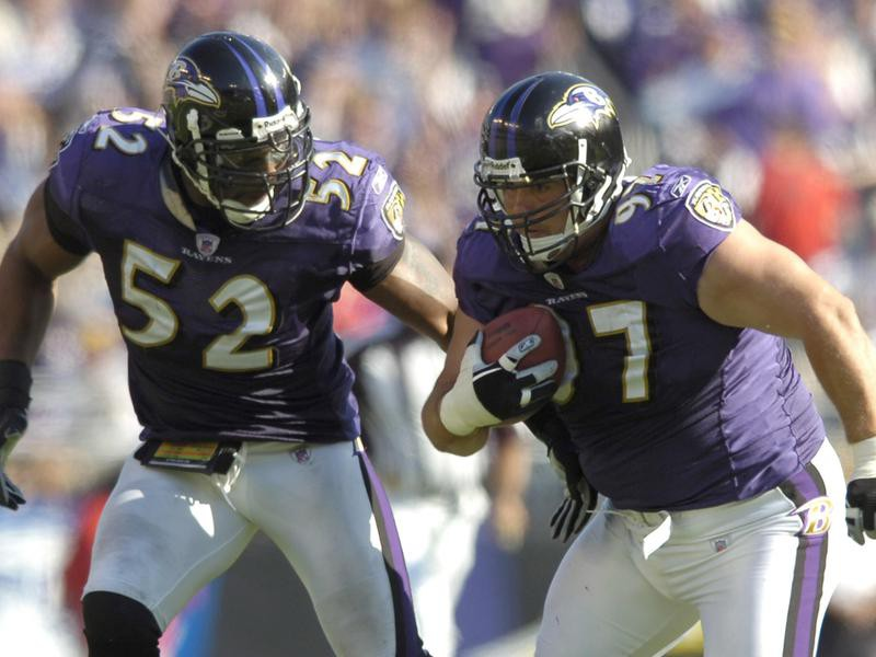 Ray Lewis (left) and Kelly Gregg