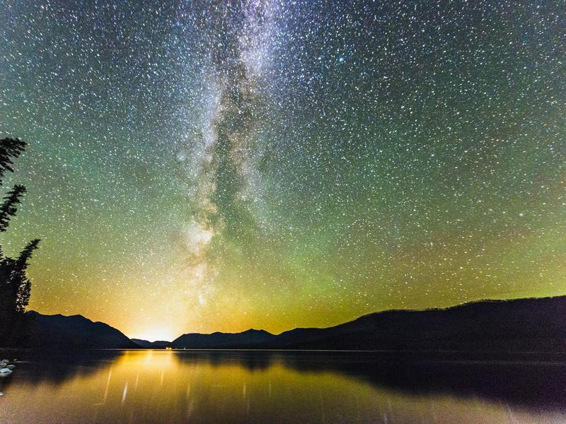 Glacier National Park Night Stars Reflection in Scenic Lake Montana
