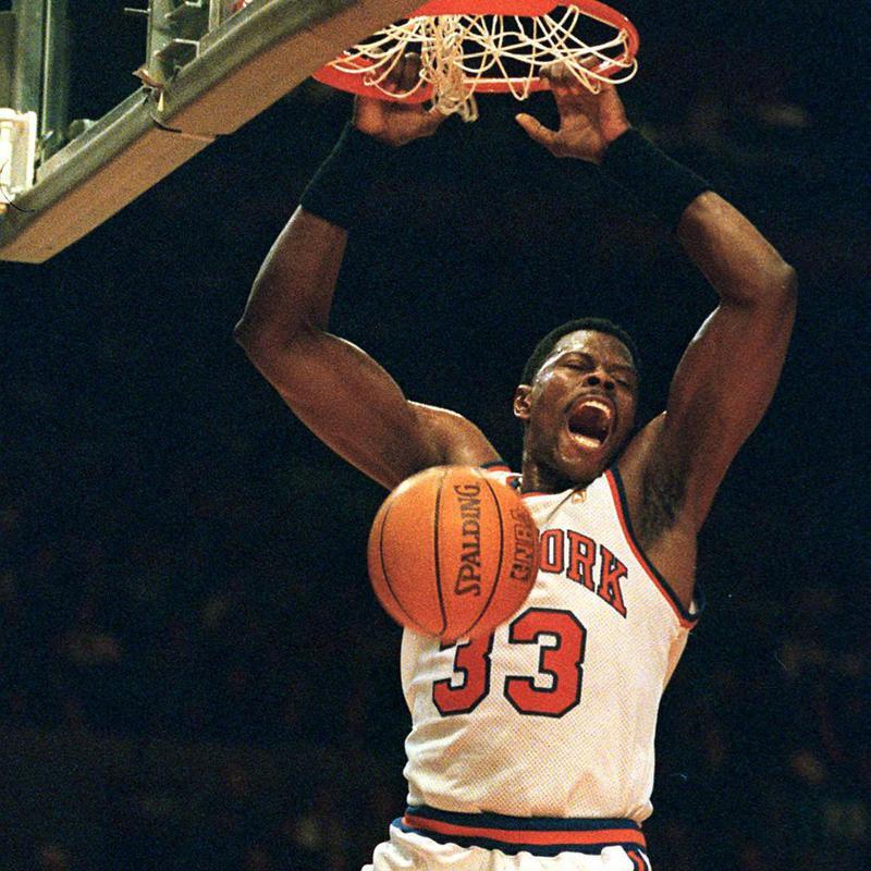 Patrick Ewing celebrating a slam-dunk