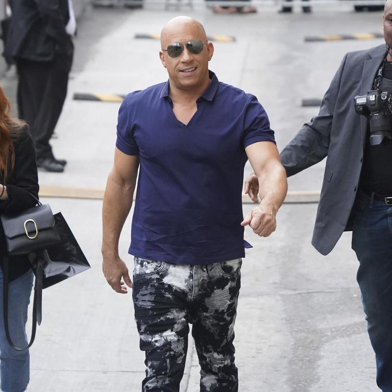 Vin Diesel smiles arriving at Jimmy Kimmel Live