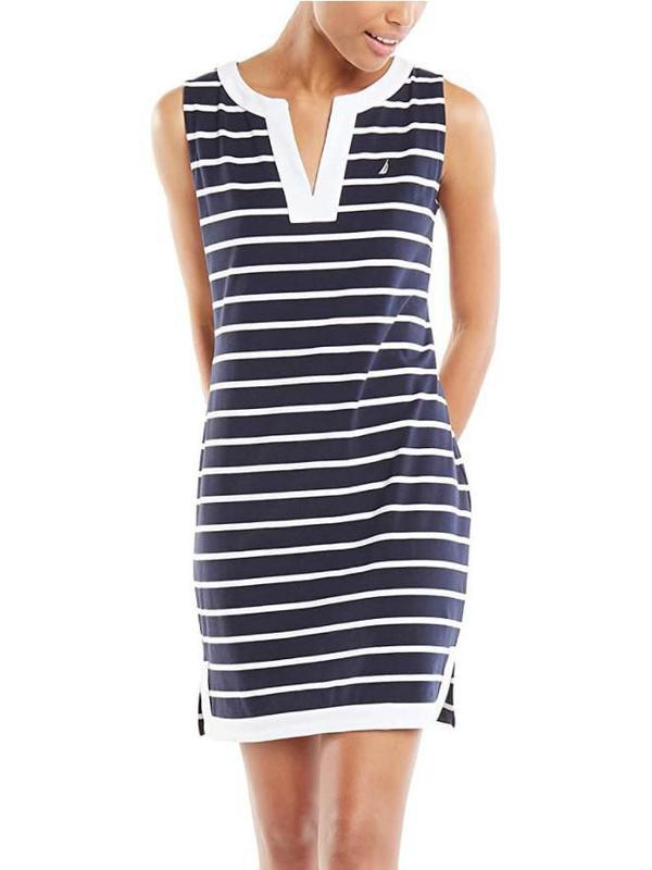 Nautica Women's Breton Stripes Sleeveless V-Neck Stretch Cotton Polo Dress