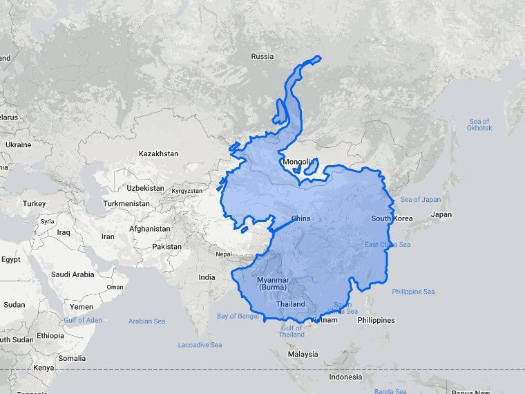 Antarctica compared to Asia