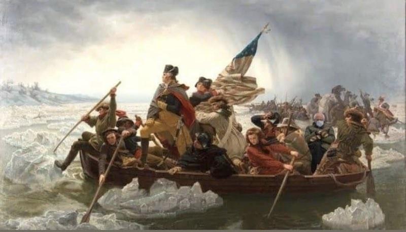 Bernie Sanders crossing the Delaware with George Washington