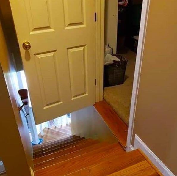 Door opens up to stairs