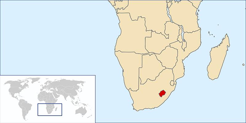 Basutoland on a map