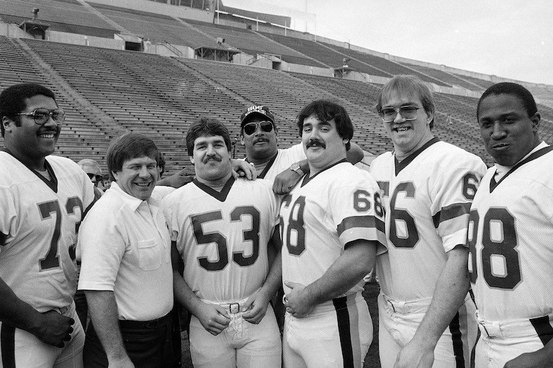 Russ Grimm (No. 68) with other teammates