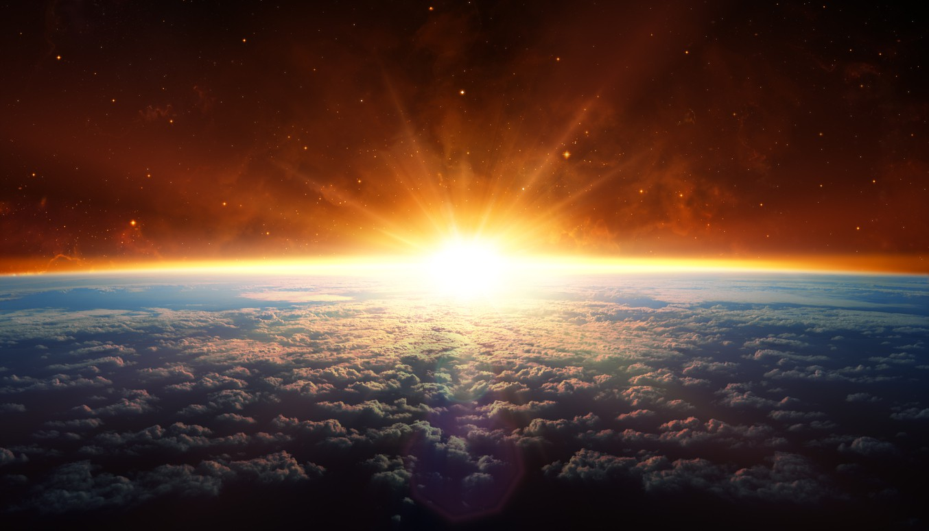 Sunset over the earth