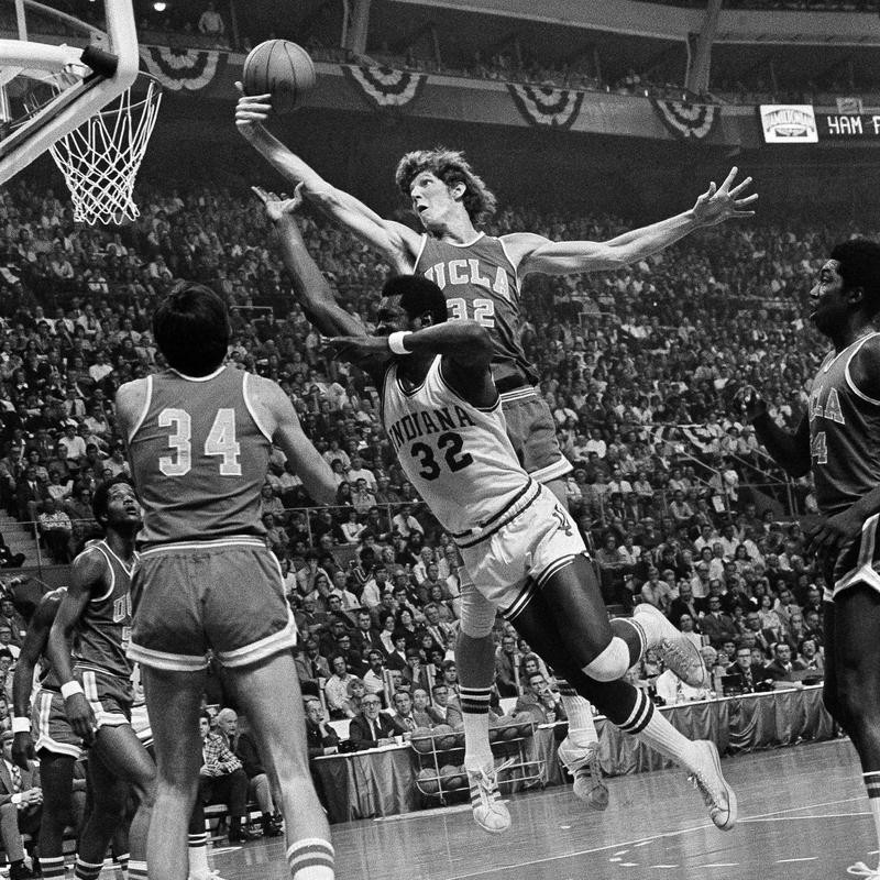 Bill Walton of UCLA goes up for a rebound against Indiana University