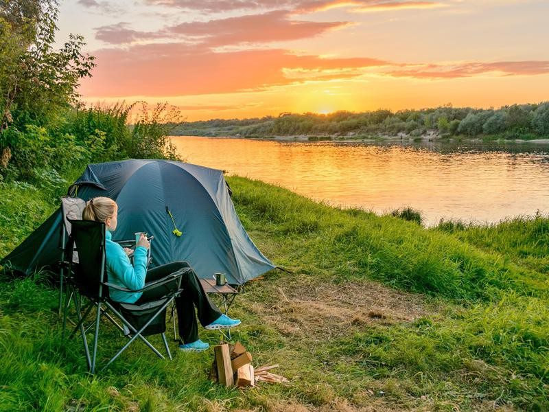 Camping on a river bank