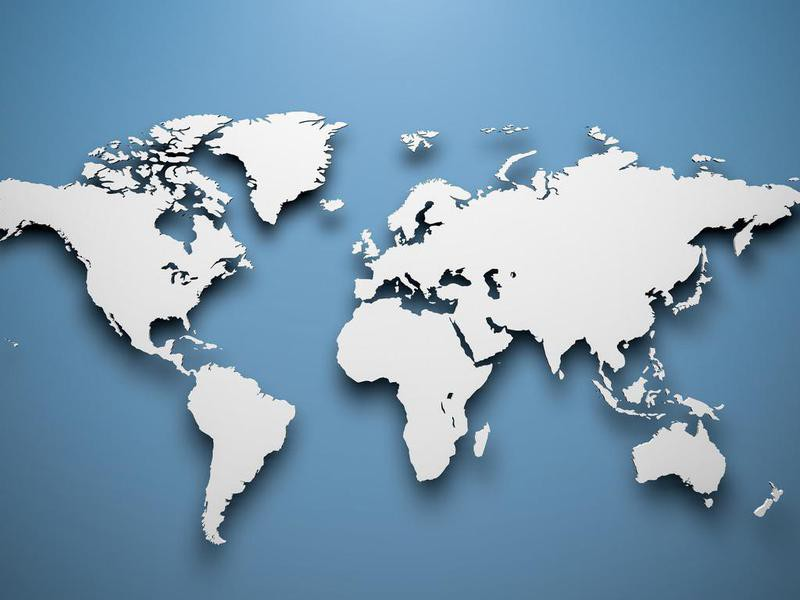 World map on a blue background