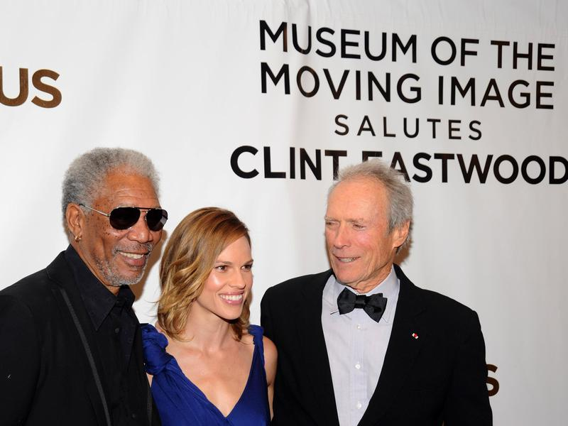 Morgan Freeman (left), Hilary Swank (center) and Clint Eastwood