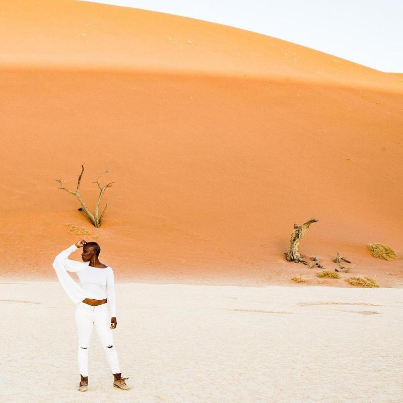 Jessica Nabongo in desert