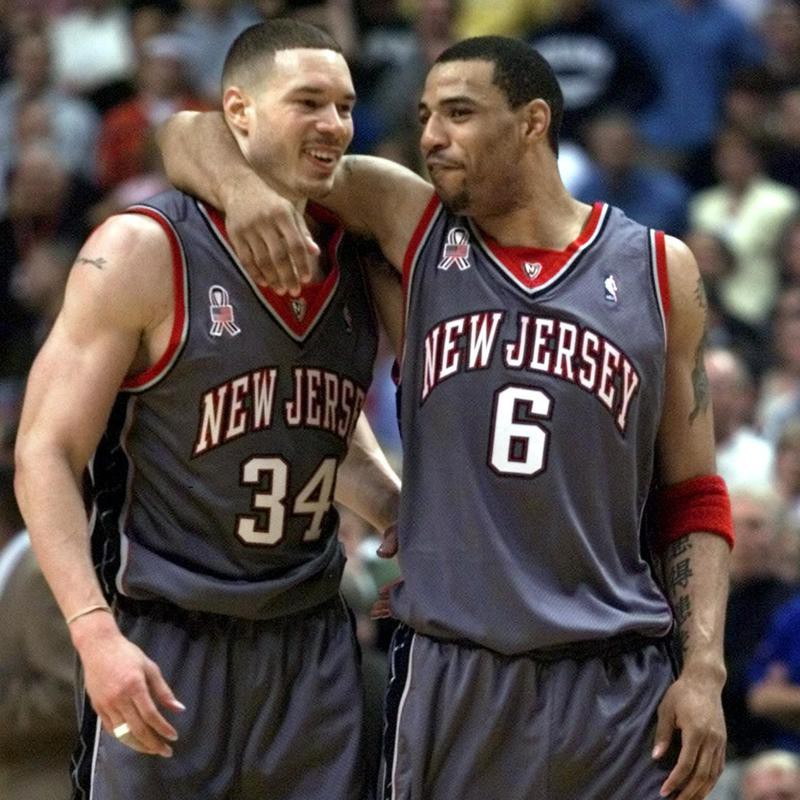 New Jersey Nets players Kenyon Martin and Aaron Williams celebrate