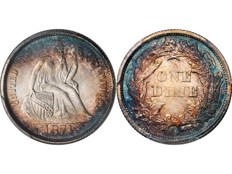 1874 Seated Liberty Dime With Arrows Proof