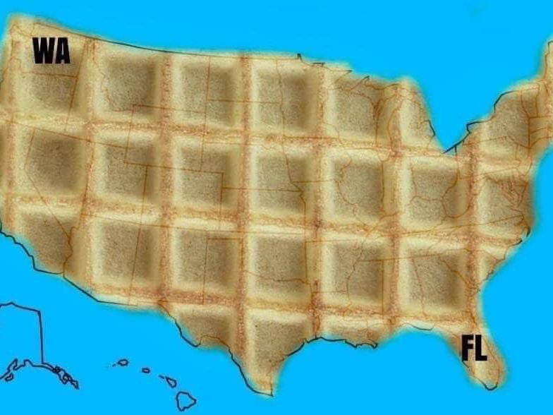 Waffle map of the U.S.