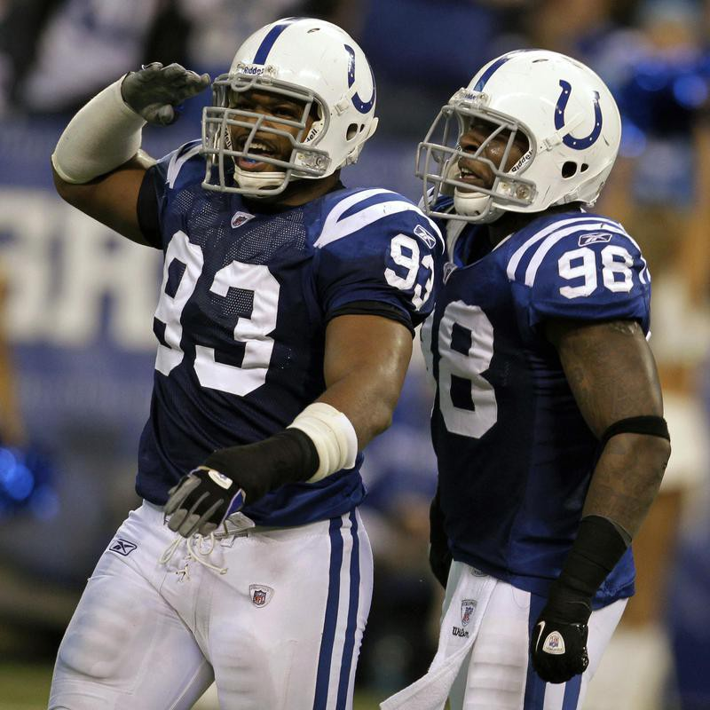 Dwight Freeney and Robert Mathis celebrate sack