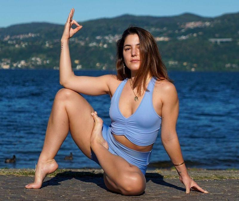 Yoga pose near water