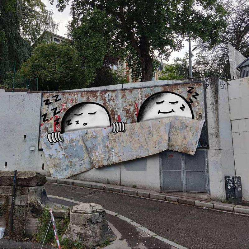 Sleeping street art intervention in Europe