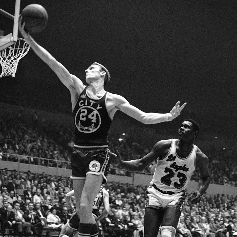 Rick Barry goes up for a basket against Los Angeles Lakers