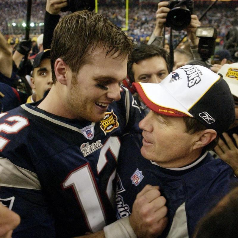 Tom Brady and Bill Belichick in Super Bowl XXXVIII