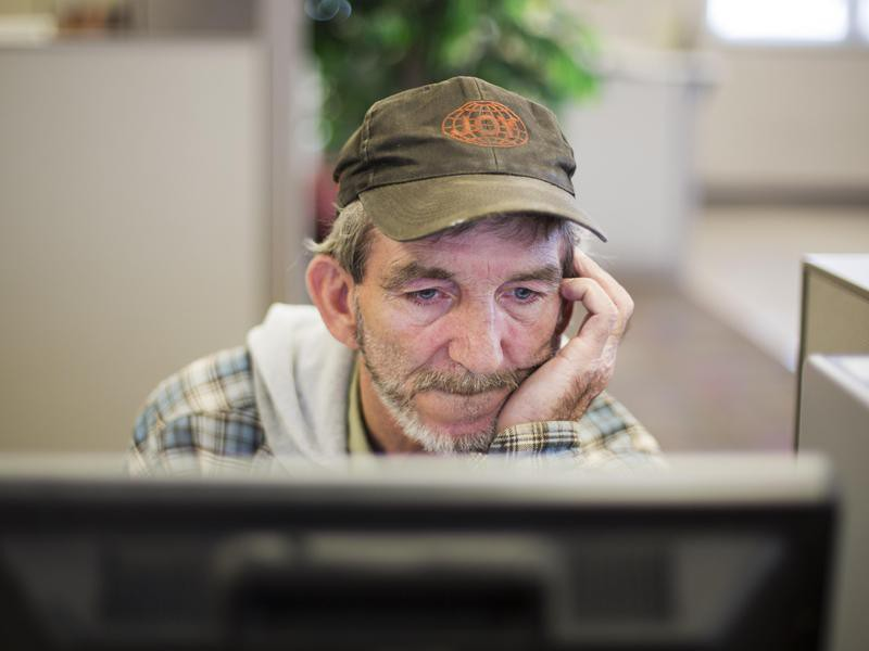Unemployed worker at Kentucky Career Center in Harlan, Kentucky